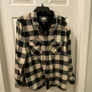 Roots Canada park plaid shirt with elbow patches